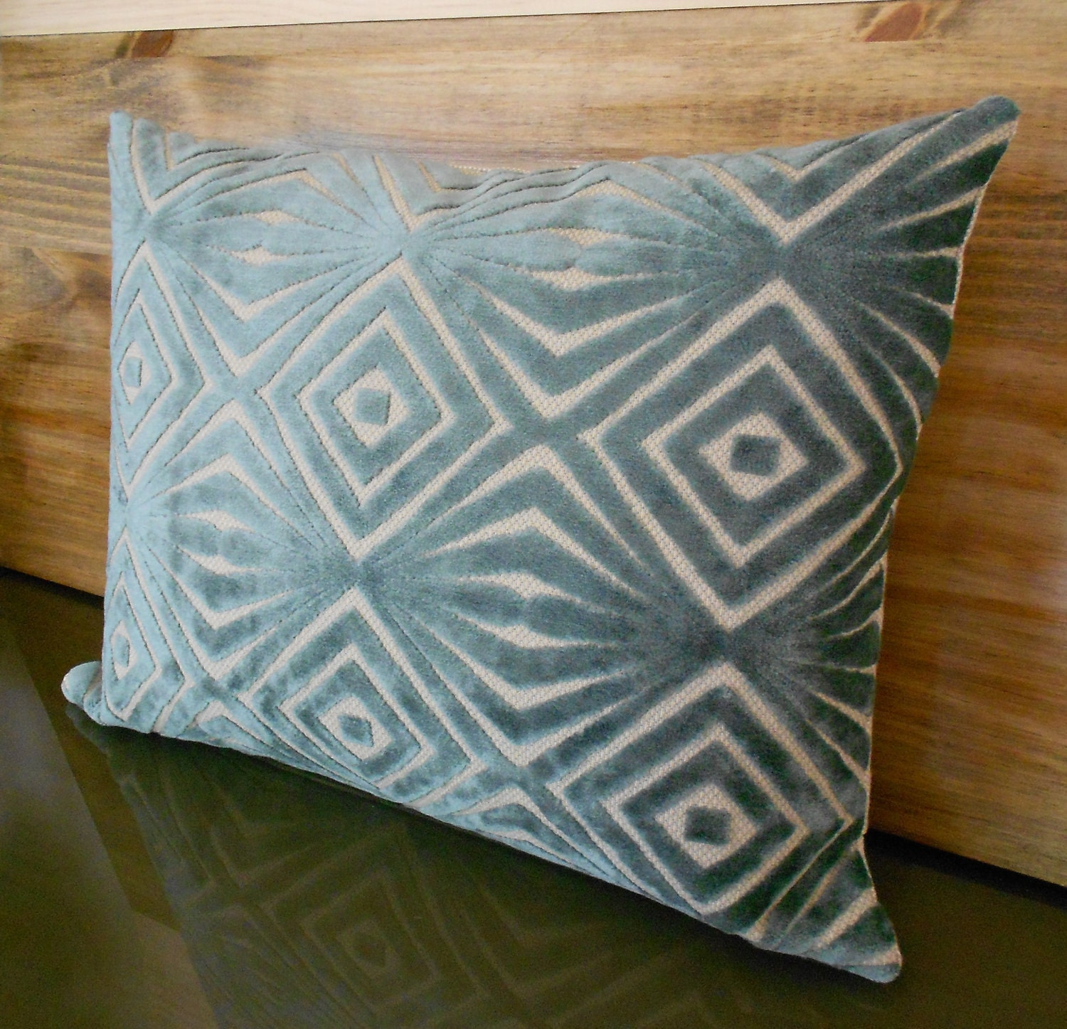 Teal Blue Throw Pillow : Decorative pillow cover retro teal blue cut velvet