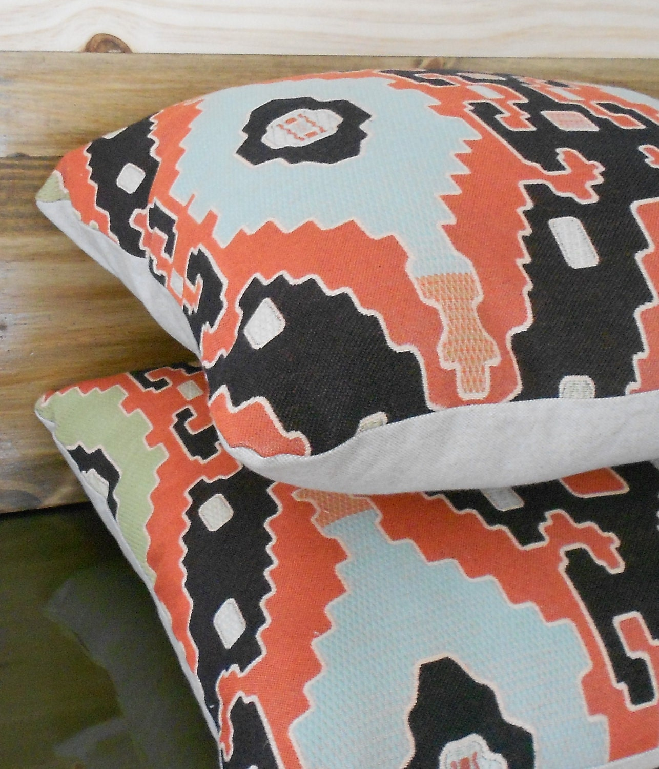 Modern Southwest Pillow : Pair of southwestern throw pillows coral and black decorative