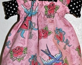 Baby Girl Sun Dress - Rockabilly Swallows - Size 3-6 months