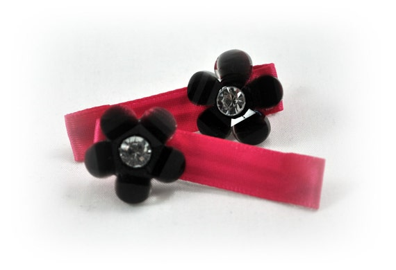 Pink and Black Hair Clip