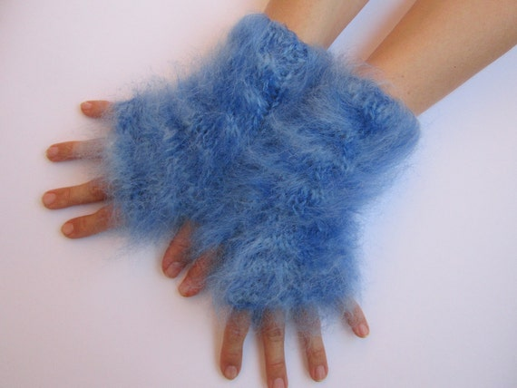 blue mohair arm warmers fuzzy fluffy fingerless gloves mittens hand knitted wrist warmers cozy winter christmas gift warm hot snow