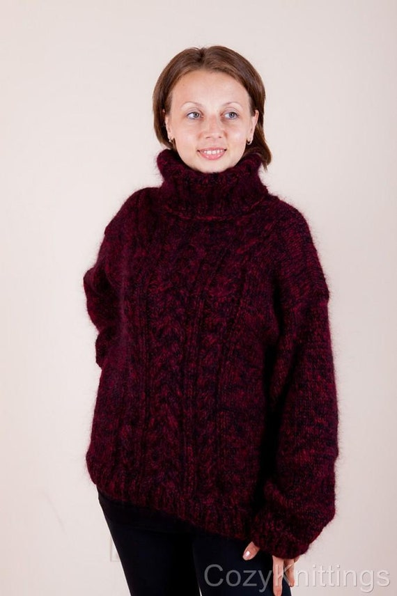 huge SALE and free shipping hand knit mohair sweater burgundy and black T-neck cabeled unisex