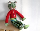 Frog Green Red Stripted paints Christmas tree colors