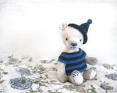 Artist Teddy Bear Bobby OOAK 9 inch navy blue whiteRESERVED until 20 December
