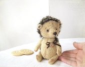Artist Teddy Hedgehog TO ORDER -  I was treated to biscuits - neutral beige
