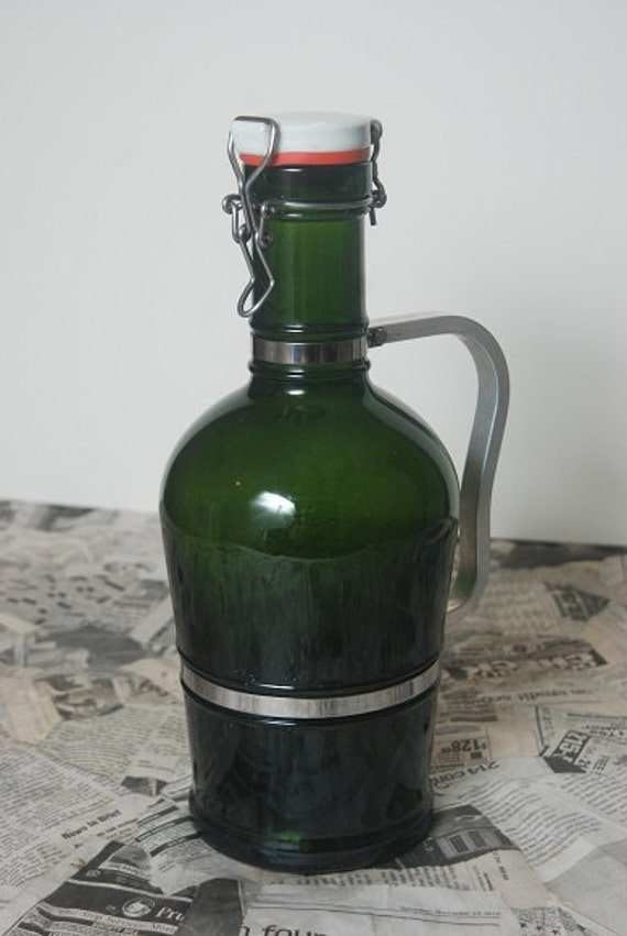 Green Glass German Growler w/ Handle and Bail Top