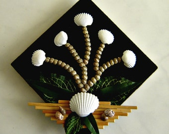 Decorative Tile  - Shells, Bamboo Sticks and Fabric Leaves