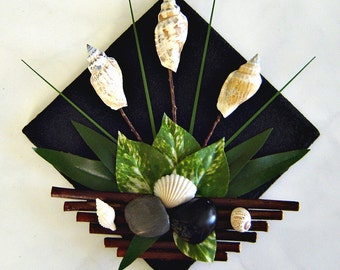 Decorative Tile  - Shells, River Rocks and Willow Branches