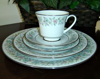 Vintage Noritake Fine China   -  (8)  5 Piece Settings and  (2) Serving Pieces