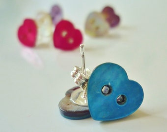 Blue shell button stud earrings