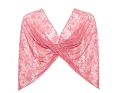 Pink lace shawl, 4 wearing options- shawl, shrug, criss cross and infinity scarf. fucsia lace shawl,  valentine's day (CL104)