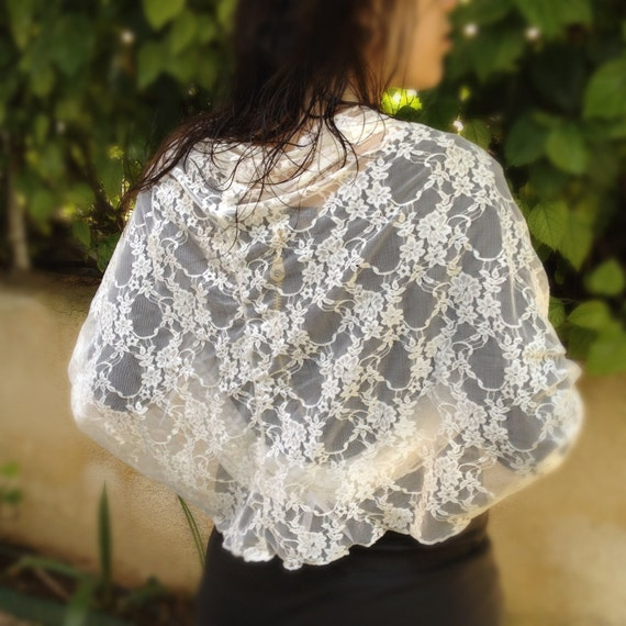Plus Size Lace Convertible Shawl. Wear As A Shawl, Shrug, Crisscross Or Infinity Scarf. Large Ivory Lace Bolero, Curvy Women Clothing, CL107