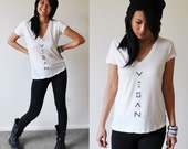 Vegan Shirt: Ladies White Deep V-Neck Top (Size S / M / L)