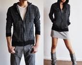 Vegan Clothing: Unisex Shirt Hoodie - Charcoal w/ thin black lines ( Size Large )