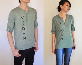 Vegan Clothing : Unisex Grey-Green Henley Shirt ( Size S )