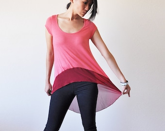 Vegan Clothing: Coral Long Top (Size S / M / L )