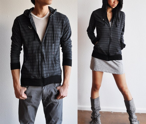 Vegan Clothing: Unisex Shirt Hoodie - Charcoal w/ thin black lines ( Size Large )
