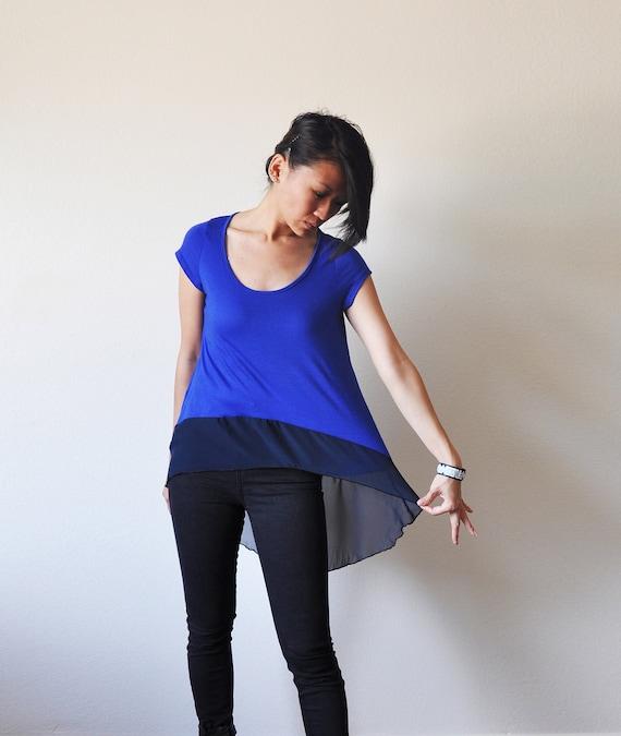 Vegan Clothing: Blue / Midnight Blue Long Top (Size M / L )