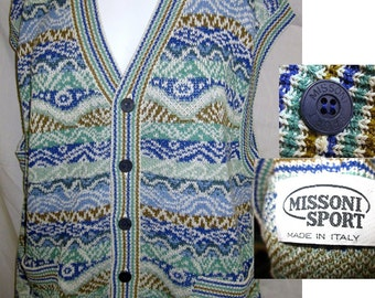 Authentic Vintage Missoni Sweater Jumper Vest Blue large