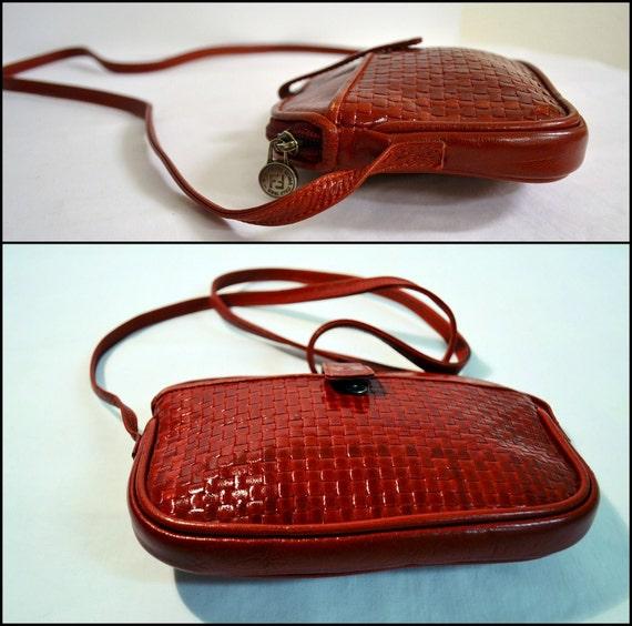 Vintage Red Fendi Bag Purse Woven Knit Leather Rare Basketweave LIKE BOTTEGA veneta Napa Knot Style