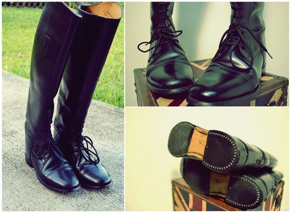 SALE // Authentic Tall Riding Equestrian Boots Englislh Malborough Black Boots US 8.5 UK 6.5