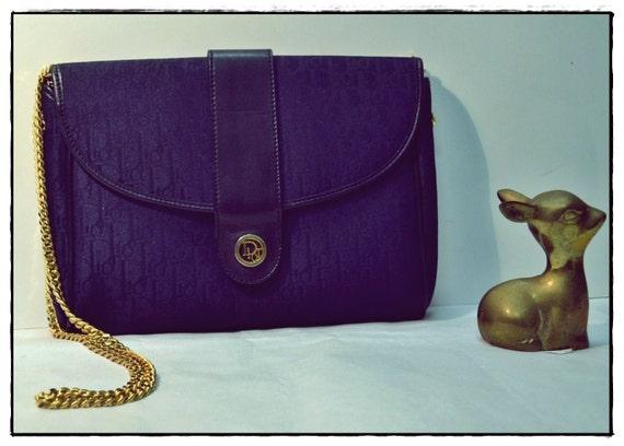 Beautiful Christian Dior Deep dark Navy Blue Dior Signature Logo Bag Clutch Purse Gold Chain AMAZING PIECE