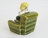 Ceramic Arts Studio Salt and Pepper Shakers - Girl and Chair - Retro Mid-Century  Art Deco - Vintage Salt Pepper