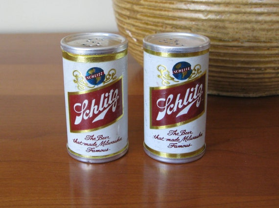 Schlitz Beer Can Salt and Pepper Shakers Vintage Advertising - Bar Accessory Man Cave Decor