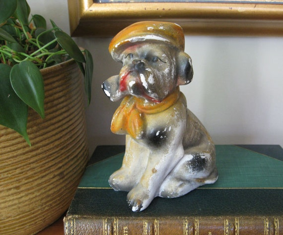 Vintage English Bulldog with Cap and Pipe - Carnival Chalkware
