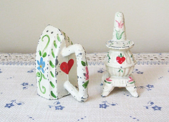 Vintage Metal Potbelly Stove & Iron Salt and Pepper Shakers - Hearts and Flowers Cottage Chic - Vintage Antique Salt and Pepper Shakers