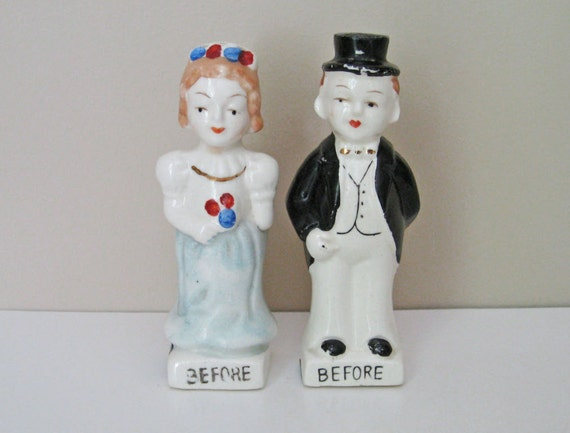 Vintage Bride & Groom Salt and Pepper Shakers - Before and After - Turnabout to Portly and Pregnant
