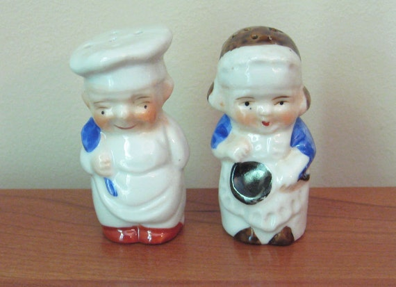 Tiny Chef and Maid Salt & Pepper Shakers