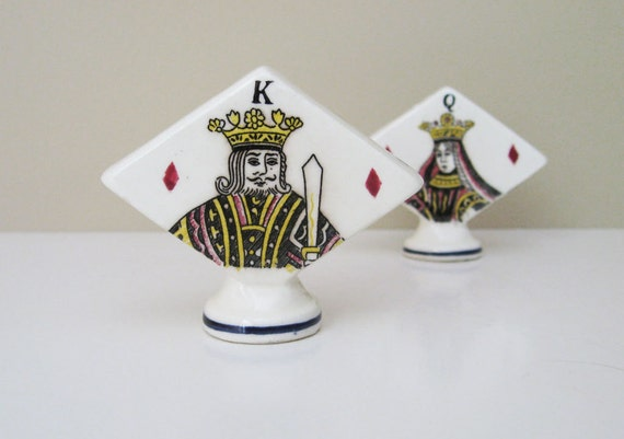 Vintage Playing Cards Salt & Pepper Shakers - King and Queen of Diamonds