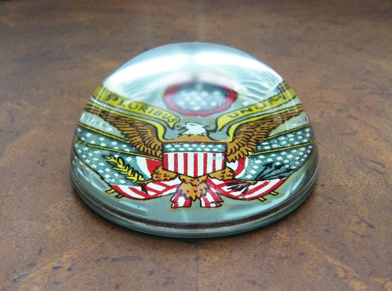 Antique U.S. Flag Paperweight Domed Glass Great Seal United States - Vintage Patriotic Americana Desk Accessory Home Decor