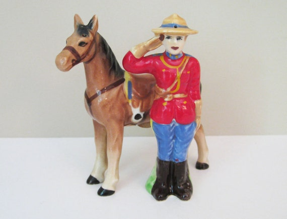 Mountie & Horse Salt and Pepper Shakers - RCMP - Royal Canadian Mounted Police