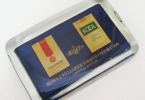 Vintage Kool Viceroy Cigarettes Advertising Glass Paperweight Tobacco Mad Men Style Desk Accessory Home Decor