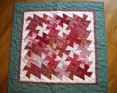 SALE ----Rhubarb Twist quilted  wall hanging