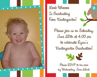 Pre-K or Kindergarten Graduation Owl Invitations/Invites
