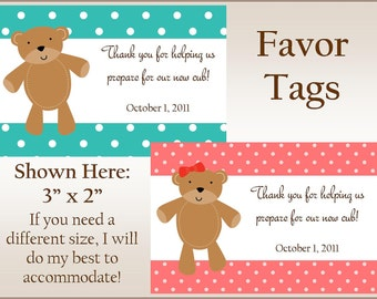 Beary Cute Baby Shower Favor Tags