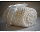 Tobias Baby blanket White100% Merino Wool Shipping Included Worldwide