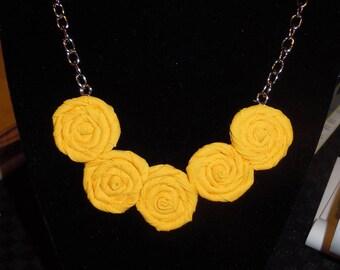 Sunshine Yellow Rosette Necklace (mini) - Summer Elegance