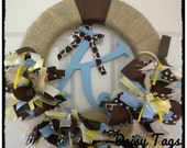 Burlap Ribbon Wreath in Giraffe, Browns, Blues & Yellows for new baby hospital door, front door, nursery, baby shower,
