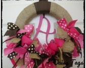 Burlap Ribbon Wreath in Chocolate Browns & Pinks for hospital door, front door, baby shower, nursery