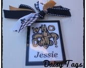 "Saints Fluer-de-lis ""WHO DAT""  Bag Tag personalized cheer, dance"