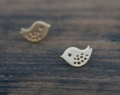 Tiny Baby Birds Stud Earrings (Gold), Bird Studs, Bird Earrings, Bird Posts, Sterling Silver Posts, Birthday gift, sweet 16 gift