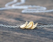 Mixed tone,Vermeil, Wavy Disks Necklace, 24K Gold, Sterling Silver Necklace, Sterling Silver Necklace, Dainty Jewelry, Birthday gift