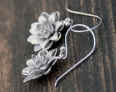 Silver Blooming Flower Sterling Silver Earrings, Bridal Jewelry, Bridesmaids Gift, Weddings, Anniversary, Birthday gift