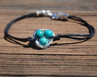 Baby Eggs In Nest Bracelet (Turquoise)