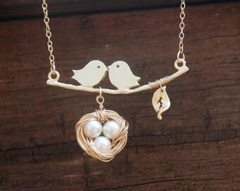 Reversible Love Birds Famliy 14K Gold Filled Necklace