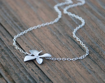 Single Orchid Sterling Silver Necklace